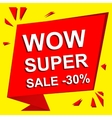 Sale poster with WOW SUPER SALE MINUS 30 PERCENT vector image vector image