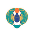 scarab beetle holding sun ancient egyptian vector image