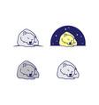 set cartoon line art sleeping bear vector image vector image