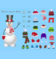 set for creation snowman character vector image