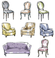 set of hand drawn chairs and sofas vector image vector image