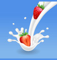 strawberry and milk pouring with splash milkshake vector image vector image