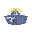 Successful career banner with big boss vector image vector image