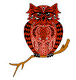 the owl sits on a branch an of an ea vector image vector image
