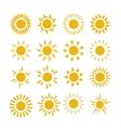 Yellow summer sun symbols vector image