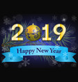 2019 on a dark winter background vector image vector image