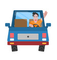 background cheerful man driving a car in a flat s vector image vector image