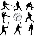 baseball players silhouettes collection vector image vector image