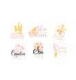 beauty salon logo design collection spa skin vector image vector image