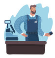 cashier standing at the checkout in a supermarket vector image