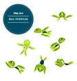 Clipart Set cartoon turtle vector image vector image