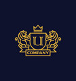 coat arms letter u company vector image vector image