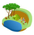couple resting in forest lake with dog vector image vector image