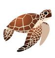 cute sea turtle cartoon drawing vector image