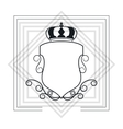 decorative vintage frame with crown icon vector image vector image