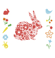 Easter bunny and floral elements vector image vector image