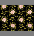 flower pattern of roses on black background vector image vector image