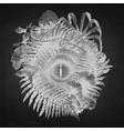 graphic dinosaur eye and prehistoric plants vector image vector image