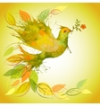 Green Dove with flower branch and autumn leaves vector image vector image