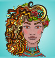 hand drawn doodle girls face beautiful women with vector image