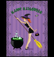 happy halloween of cute young witch with cauldron vector image vector image