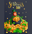 happy st patricks day greeting card red gnome vector image vector image