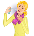 Ill woman with spray vector image vector image