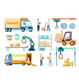 isometric warehouse workers and equipment vector image