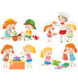 kids doing different chores vector image vector image