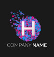 letter h logo with blue purple pink particles vector image vector image