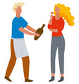 man offering wine to woman with glass vector image vector image