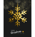 Merry christmas happy new year gold snow origami vector image vector image