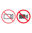 no filming line and glyph icon prohibition vector image vector image