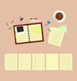 office desk table with notebooks and coffee cup vector image vector image