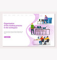 organization working process and workspace vector image vector image