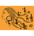 Outline portrait of African girl and tribal vector image