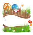 Painted Easter eggs with grass and flowers vector image vector image