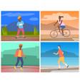 people doing outdoors sport activities set vector image