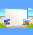 photo frame with couples that kisses on beach vector image