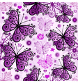 Seamless white pattern with violet butterfl vector image vector image