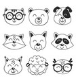 set isolated black animal faces vector image vector image
