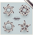 Set of impossible shapes with stippled gradient vector image vector image
