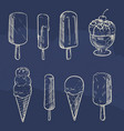 sketch ice cream collection on blue backdrop vector image vector image
