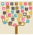 Social network tree background of SEO internet vector image vector image