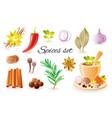spice herb icon set with garlic cinnamon chilli vector image