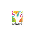 square art painting work logo design vector image