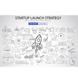 Strartup Launch Strategy Concept with Doodle vector image vector image