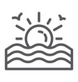 sunset line icon sunrise and ocean sun sign vector image vector image
