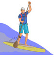 surfer on the board with a paddle vector image vector image