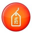 Tag with 25 discount icon flat style vector image vector image